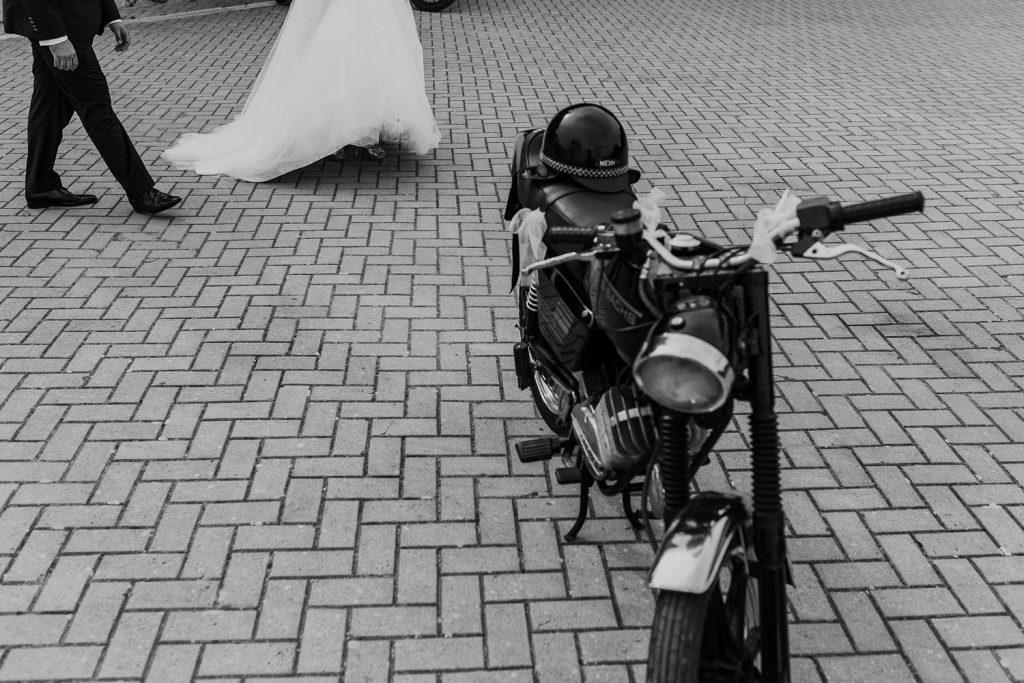 foto original de casamento motard