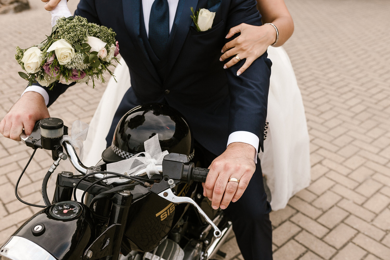 motorcycle wedding portrait