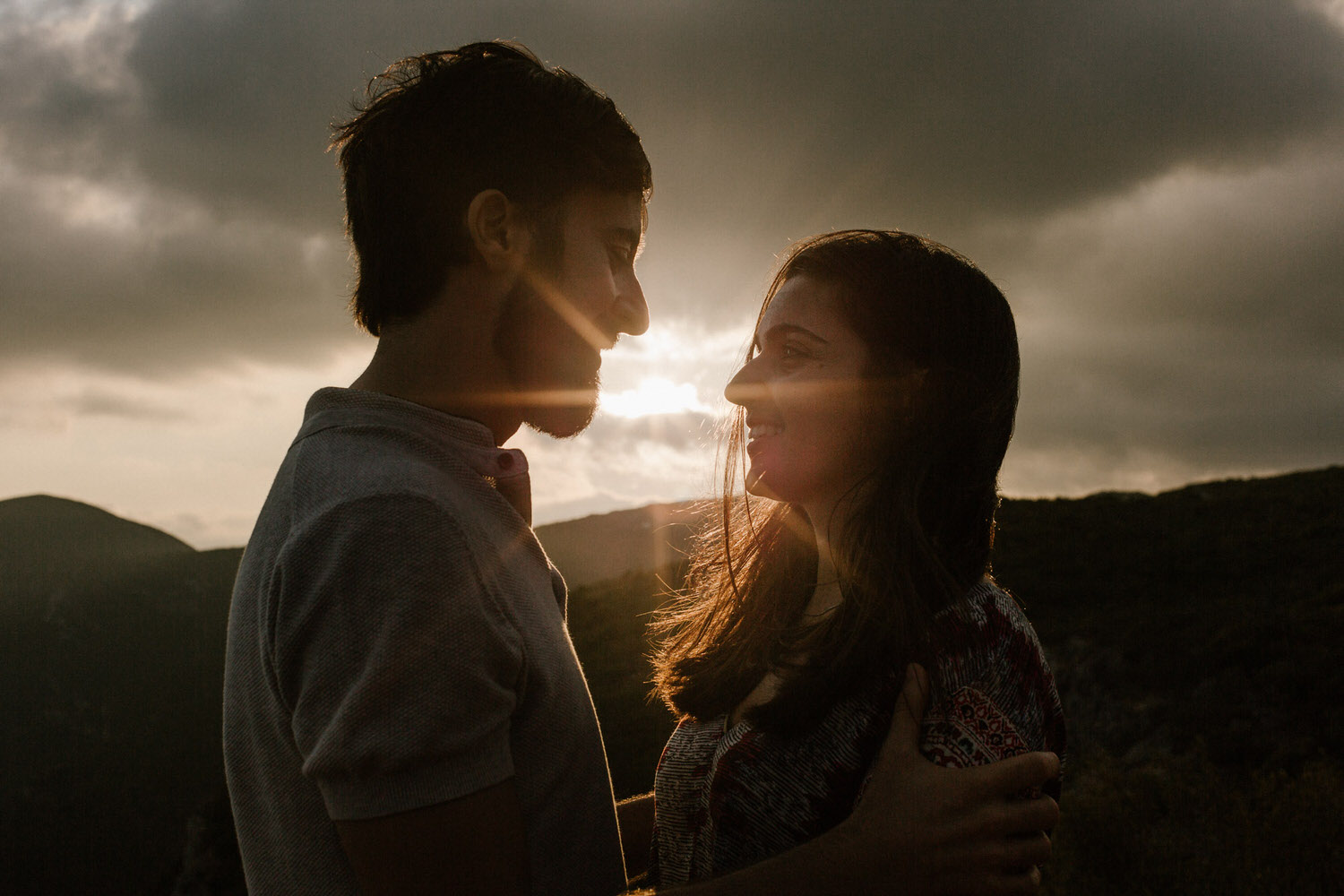beautiful sunset portrait of a young couple