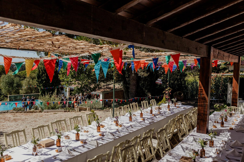 decoração rústica das mesas do casamento
