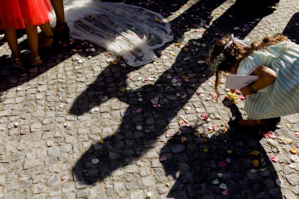 chão da rua do convento dos capuchos cheio de petalas de rosa